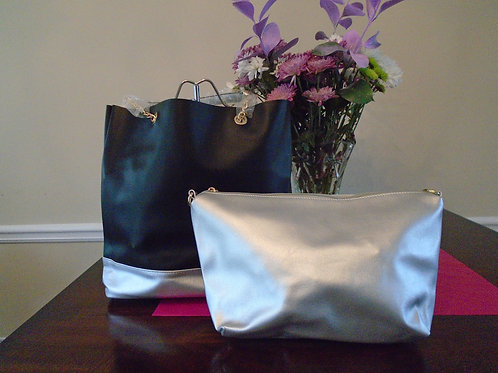 Diva Tote Bag Black And Silver With Cosmetic Silver Bag