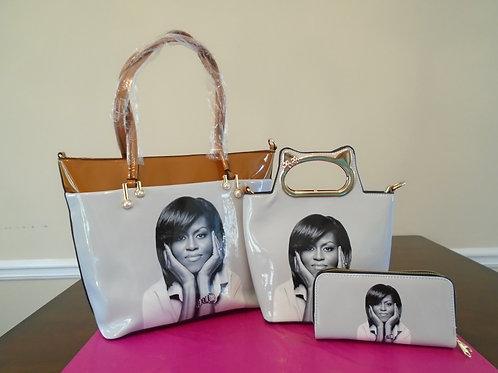 Michelle Obama Tote Bag 2 In 1/Brown And White