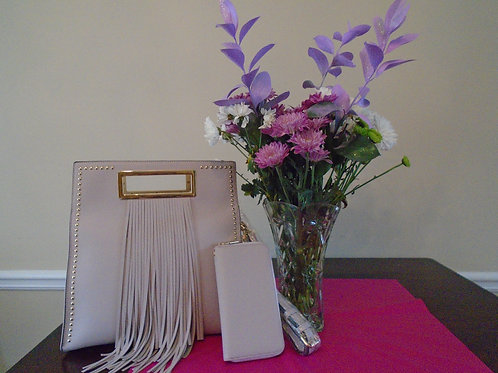 Diva Fringed Squared Handbag With Matching Wallet Beige