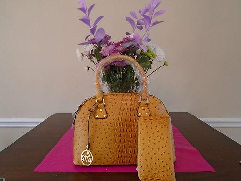 Diva Animal Print Everyday Handbag With Wallet/Mustard