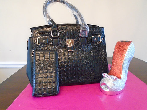 Diva Everyday Tote Bag With Matching Wallet/Black
