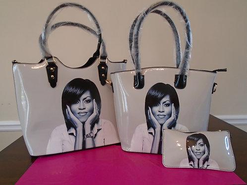 Michelle Obama Tote Bag/3 In1/White And Black