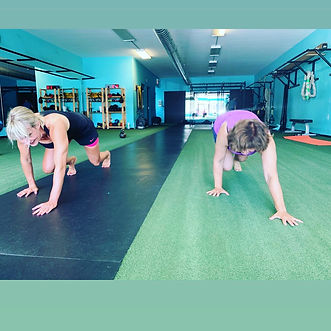 two ladys working out