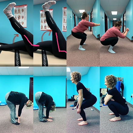 woman doing various stretches