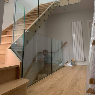 face mounted glass / solid oak