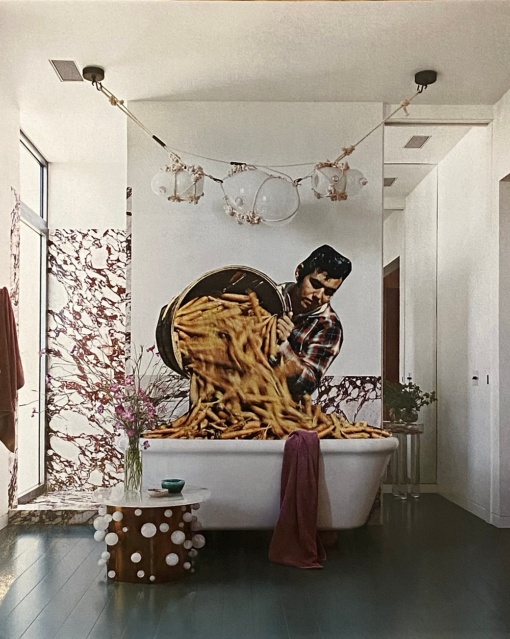 A collage of a man pouring a bushel of carrots into the bathtub of a modern, formal bathroom
