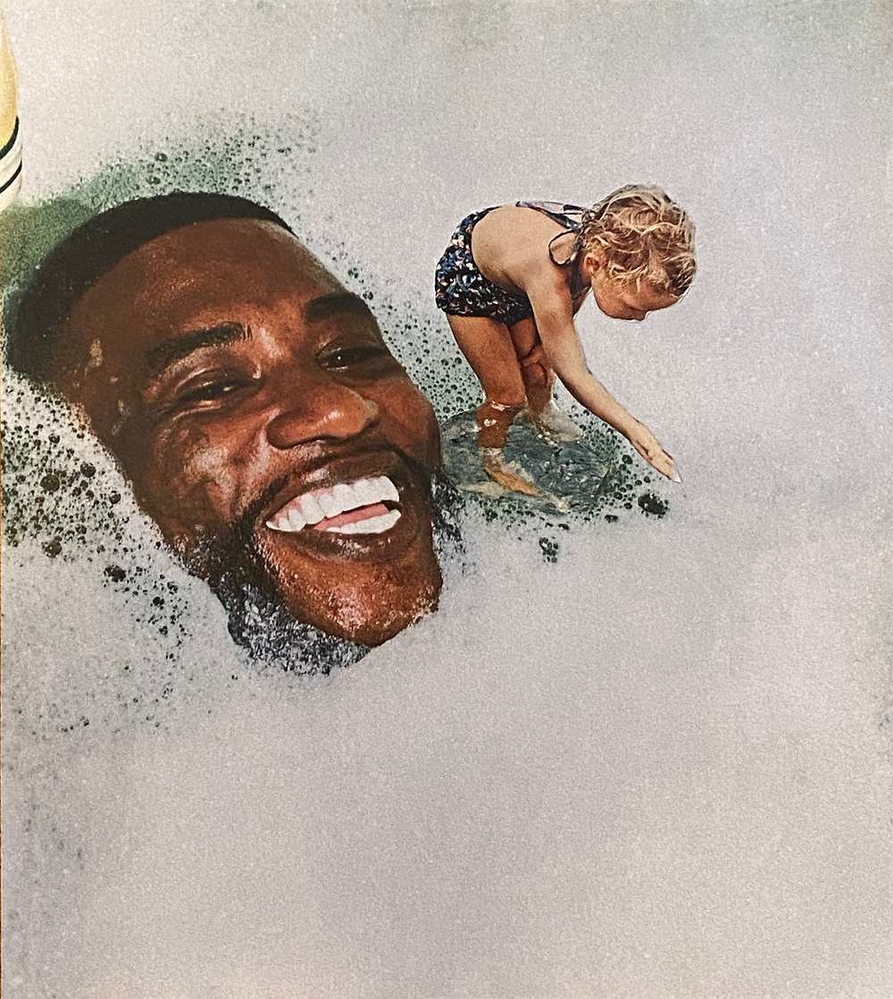 A collage of a smiling face emerging from bubbly water with a girl standing in a break in the bubbles reaching forward