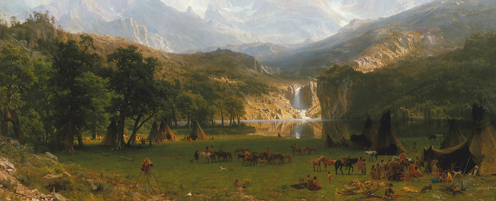 A painting of a landscape with mountains and a waterfall, and Native American's camped in the foreground