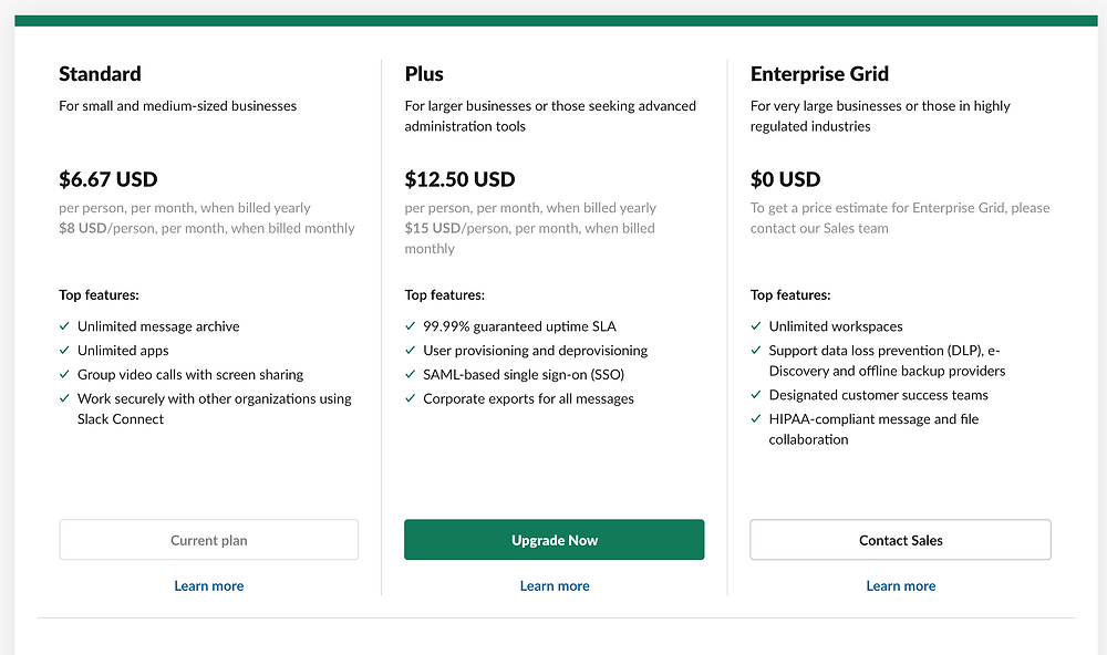 A Screenshot of Slack's pricing plans
