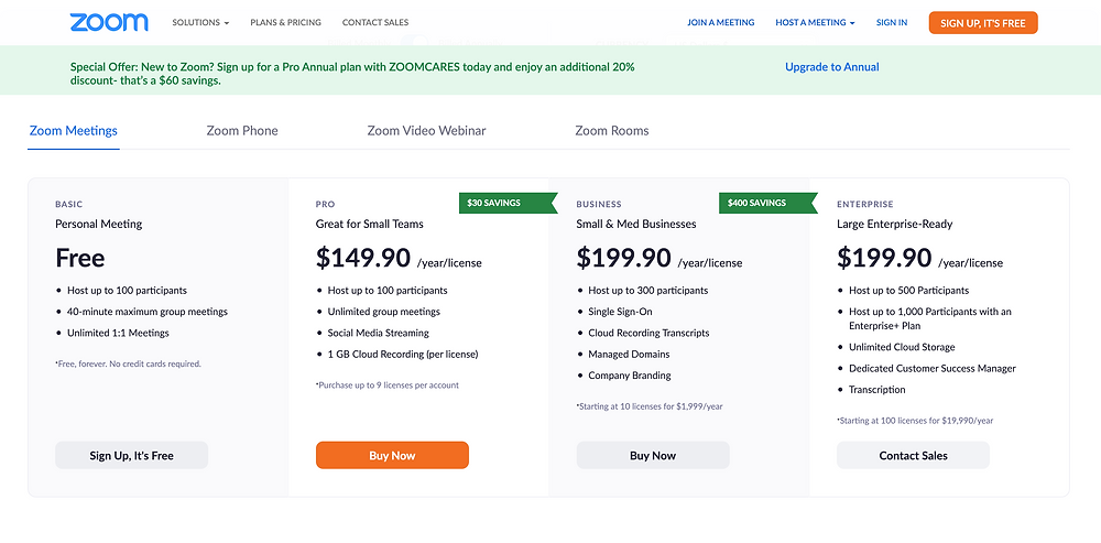 A screenshot of Zoom's pricing plans