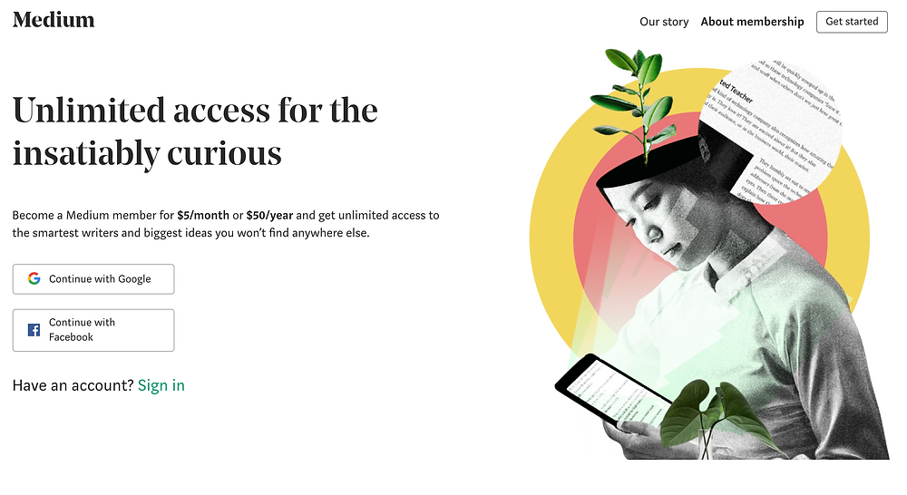 A screenshot of Medium's subscription page