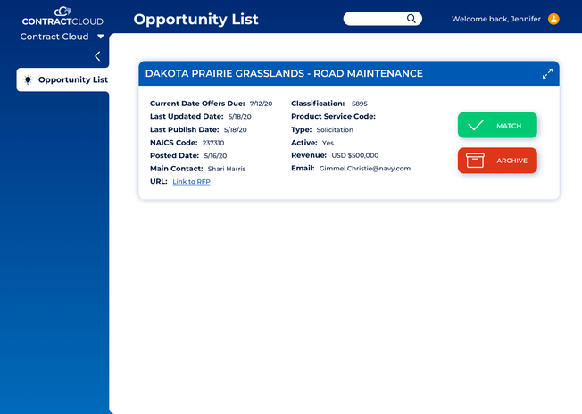 Contract Cloud Opportunity List