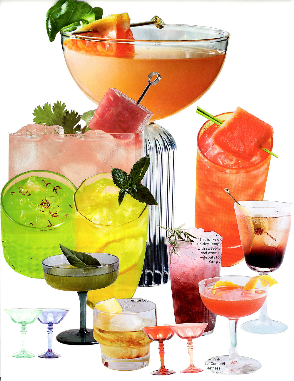 A collage of many different colorful cocktails