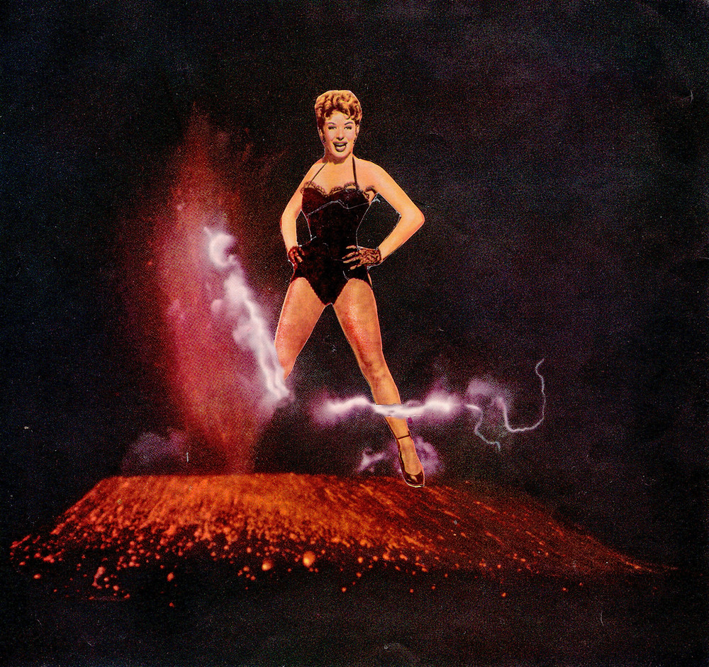 A collage of Gwen Verdon in a black leotard with her hands on her hips exploding out of a violently erupting volcano with lighting and lava