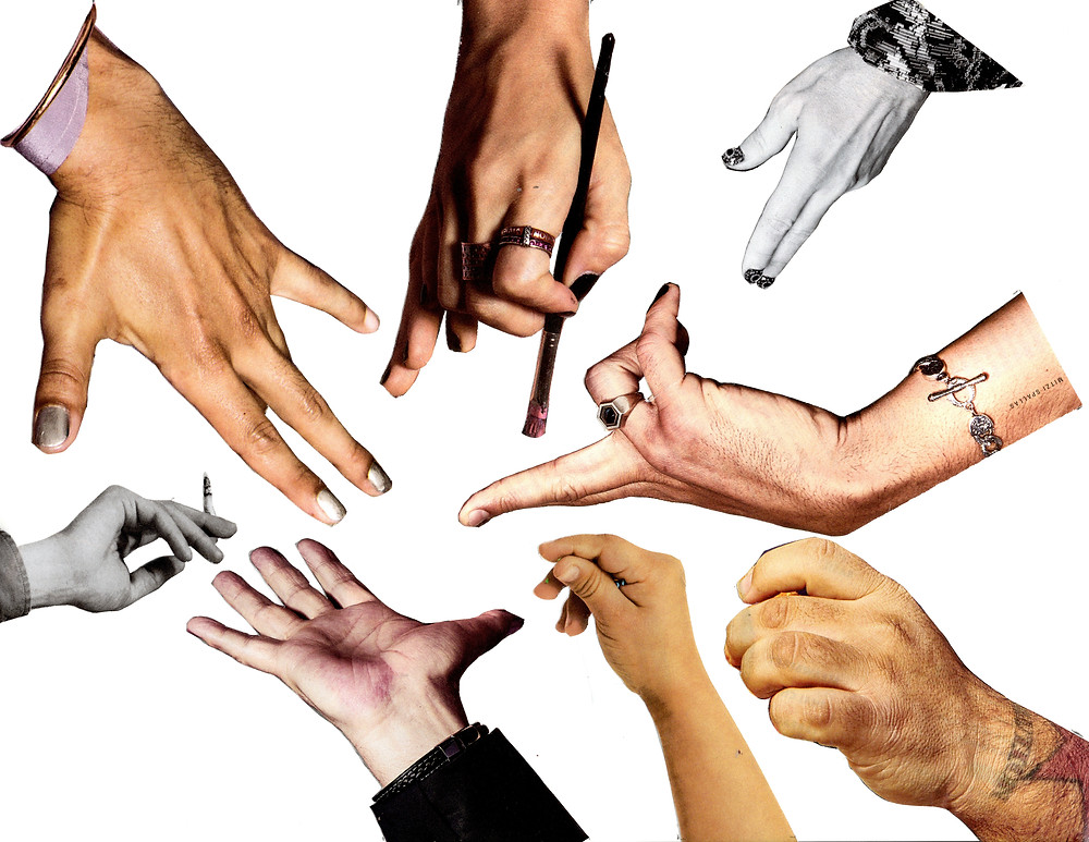 A collage of hands all reach towards one outstretched palm