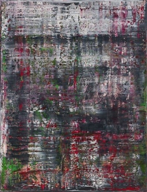 An abstract painting that looks like a woven texture of white, black, red, and green