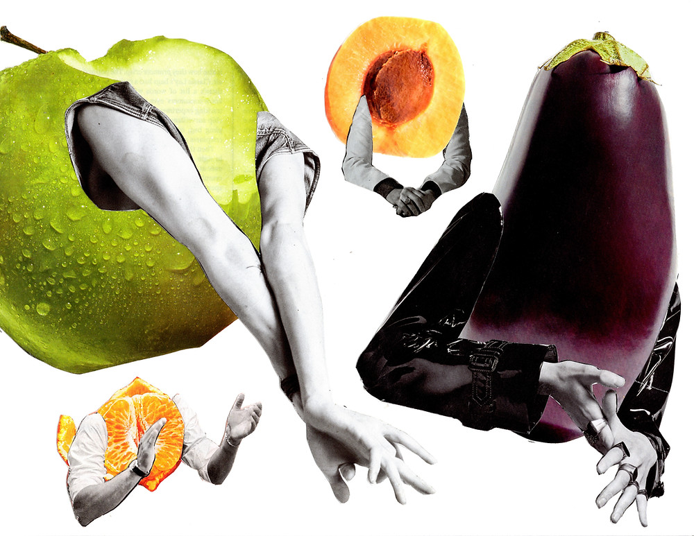 A green apple, clementine, peach, and eggplant have all been given arms