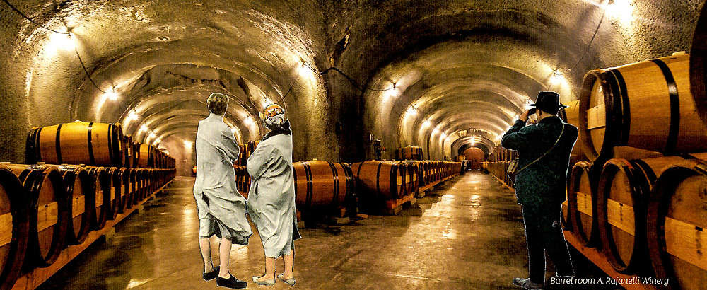 A collage of two women staring down the left of 2 tunnels lined with wine barrels while a man looks down the right side with a pair of binoculars.
