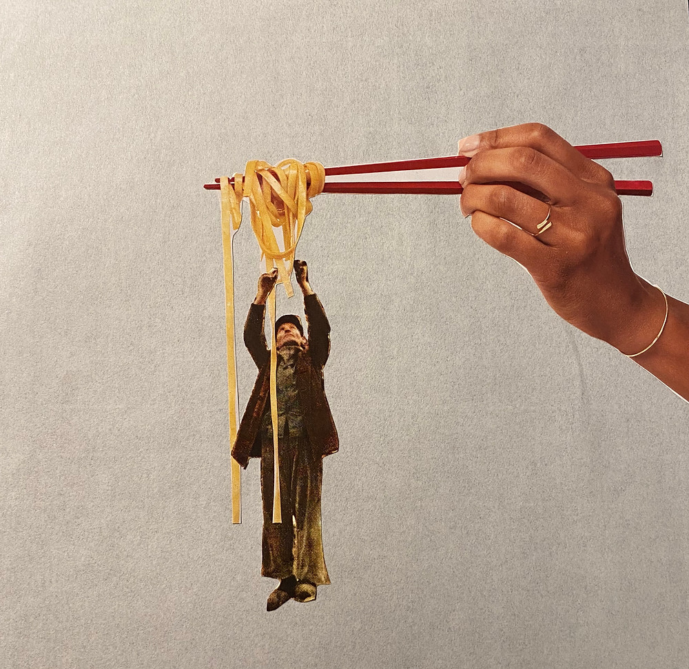 A collage of a hand holding chopsticks full of noodles with a man reaching up to touch the noodles as they hang