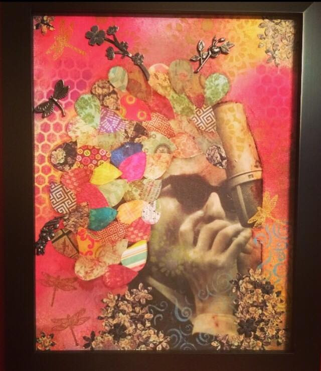 Bob Dylan sings into a microphone as part of a collage piece.