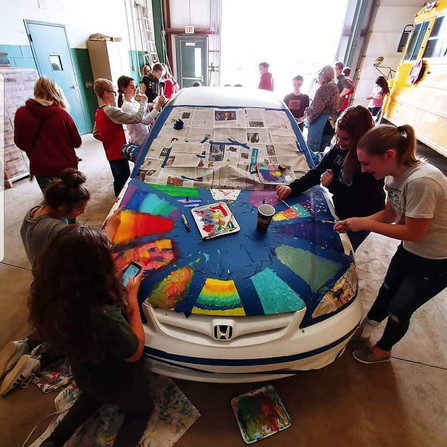 Students Painting Art Car