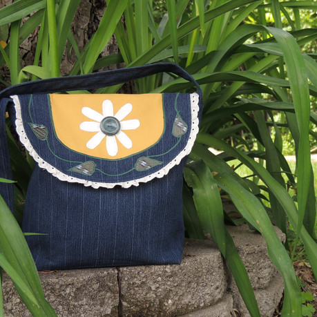 80's Pinstrpied Jeans Turned Hippie Boho Bag