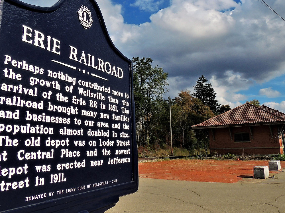 Erie Railroad Historic Marker in Wellsville, NY