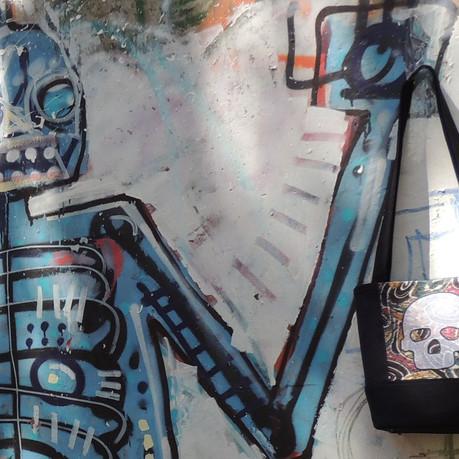 Edgy Silk Skull Bag