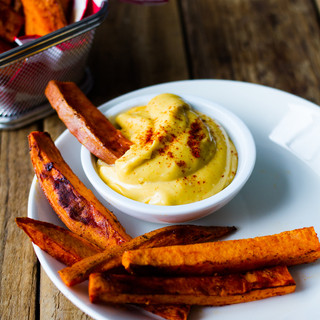 Roasted sweet potato wedges and camelina sea buckthorn oil mayo