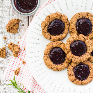 Thumbprint cookies with bilberry vanilla jam Makes about 8 cookies