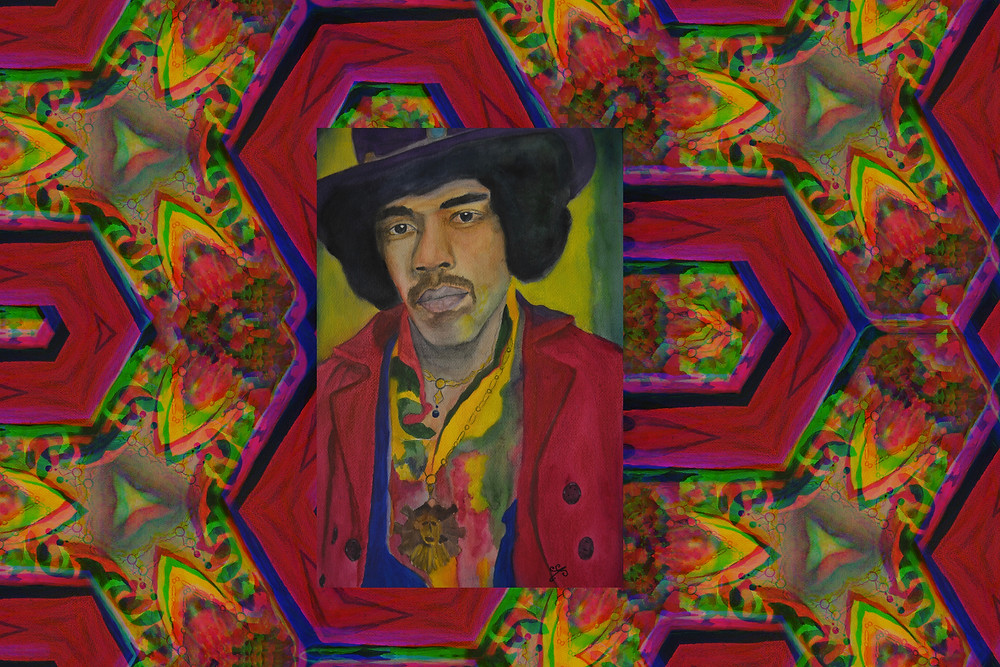 Hey, more of Jimi with funky color background.