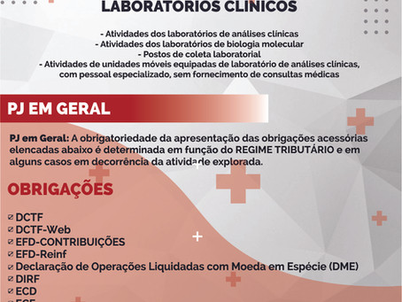 Obrigações Acessórias Laboratórios Clínicos
