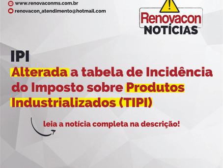 Alteração TABELA DE INCIDÊNCIA DO IPI (TIPI)