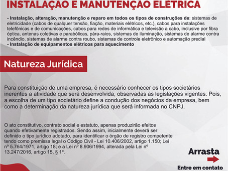 Constituição e Obrigações Acessórias de uma empresa de Instalação e Manutenção Elétrica.