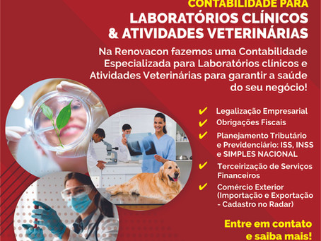 Contabilidade para Laboratórios Clínicos e Atividades Veterinárias.