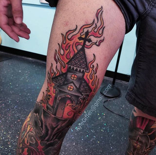 Burning church tattoo by _kylegiffen 🔥⛪