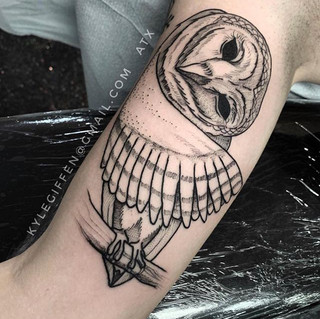Owl Tattoo by our artist Kyle. _kylegiff