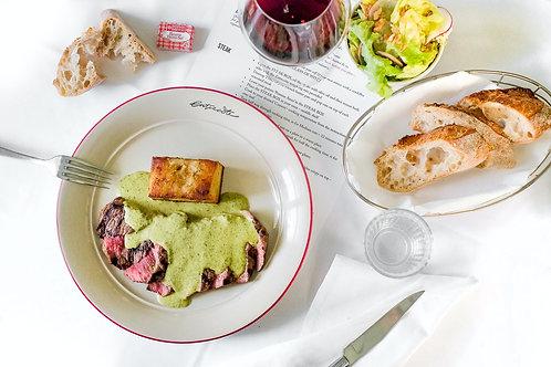 Entrecôte Classique, two courses for two people