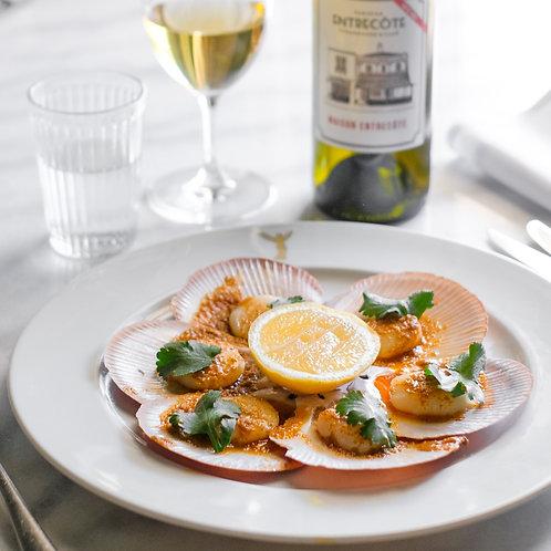 Hervey Bay half shell scallops, spiced citrus butter
