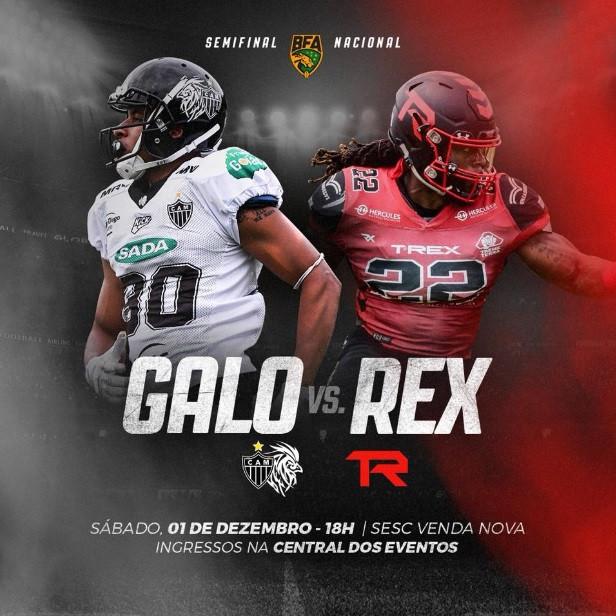 Galo FA enfrenta o Timbó Rex buscando uma vaga no Brasil Bowl