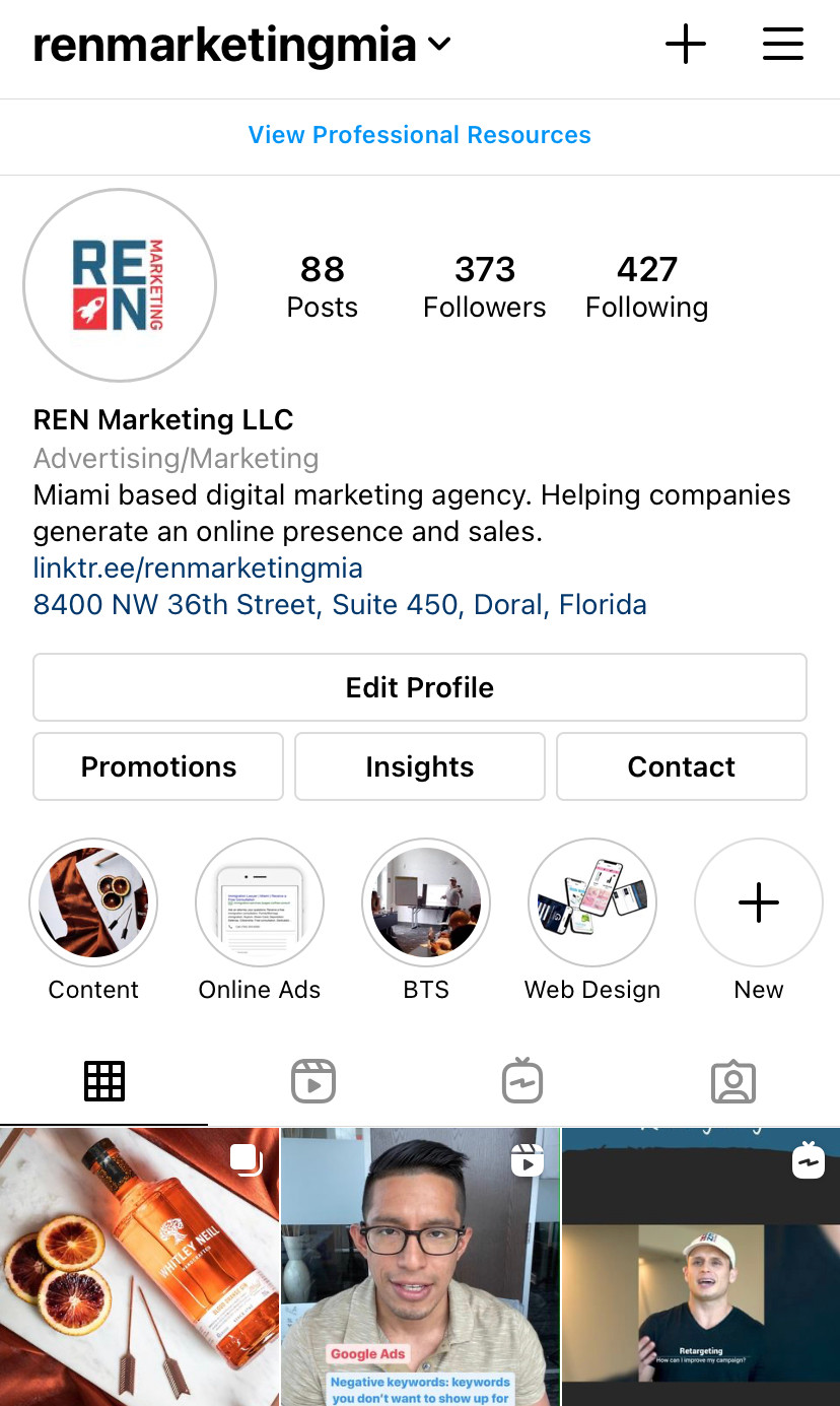 digital marketing agency instagram profile