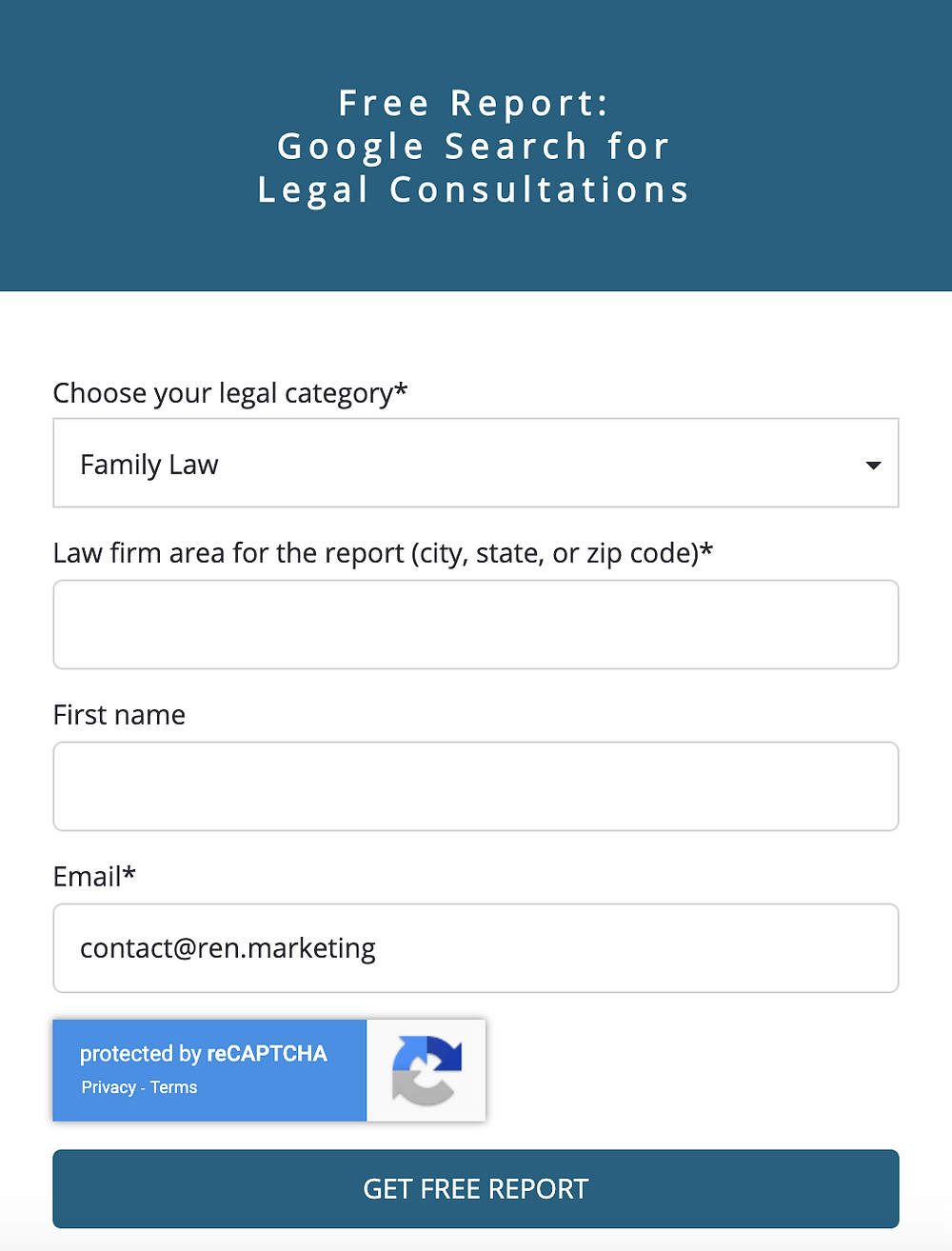 Lead generation sign up form