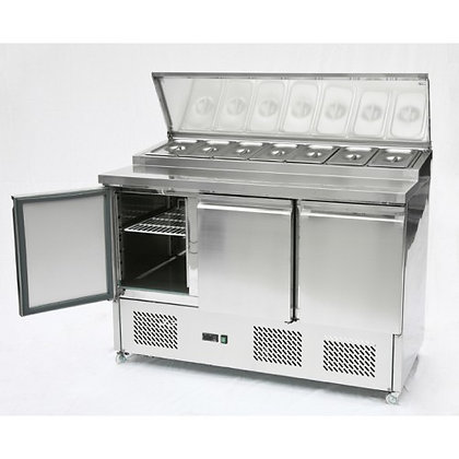 small triple door prep counter ps300