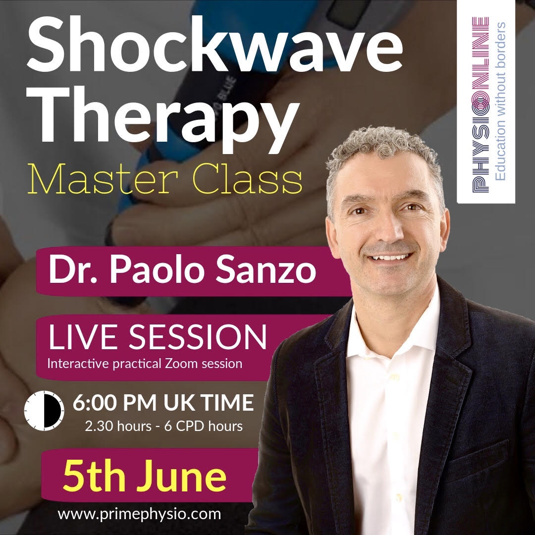 PHYSIO ONLINE. Prof Paolo Sanzo of canda presenting a Shock wave Therapy master class