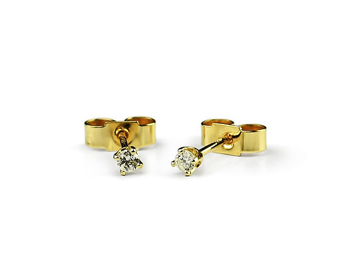 9K Yellow Gold Diamond Stud Earrings