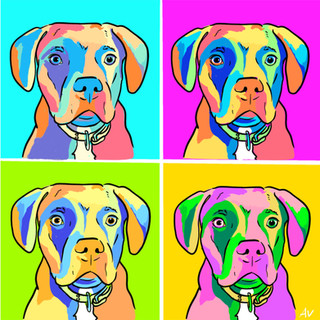 Pitbull Warhol Poster
