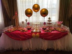 Gold Balloons at dessert table Event planner Wedding Planner First Birthday