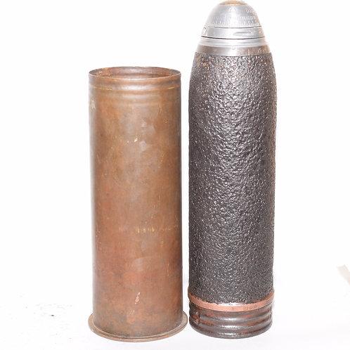 Unfired German WW1 77mm Shrapnel Round for FK 16