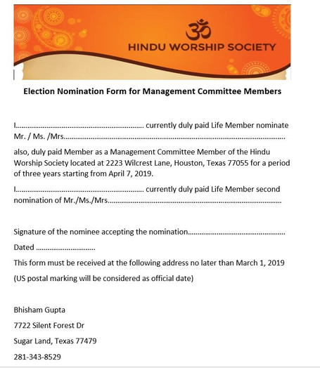 Notification for Election of Management Committee Members