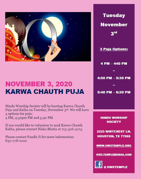 Karwa Chaut Puja at HWS